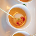 "Star Noodle's ""Scallop Shots"" with Wafu Dashi, Ginger, Scallion, Lemon EVOO. © 2012 Sugar + Shake"