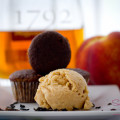 The smoky cupcakes paired nicely with homemade Bourbon-Rum Peach Ice cream.