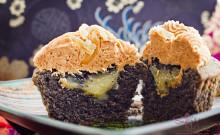 """Kuro Kuro Ginger"" cupcakes, made with kuro goma (black sesame seed) paste, kuro sato (black Japanese sugar) and ginger curd filling. © 2012 Sugar + Shake"