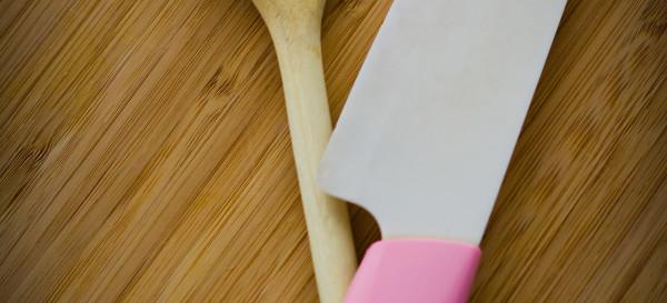 Favorite tools. Sugar loves this wooden spoon and ceramic knife. © 2013 Sugar + Shake