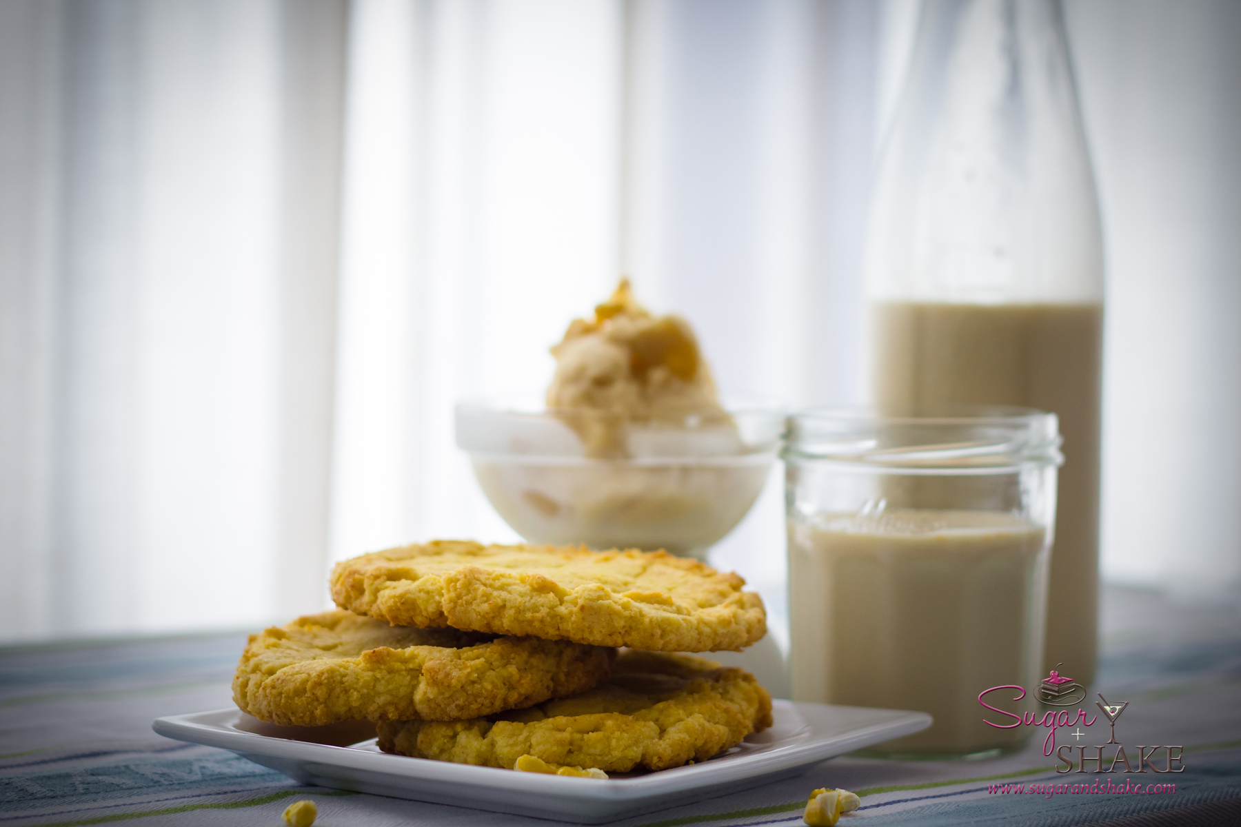 A Momofuku Milk Bar spread: Corn Cookies, Cereal Milk Ice Cream and cold Cereal Milk. © 2013 Sugar + Shake