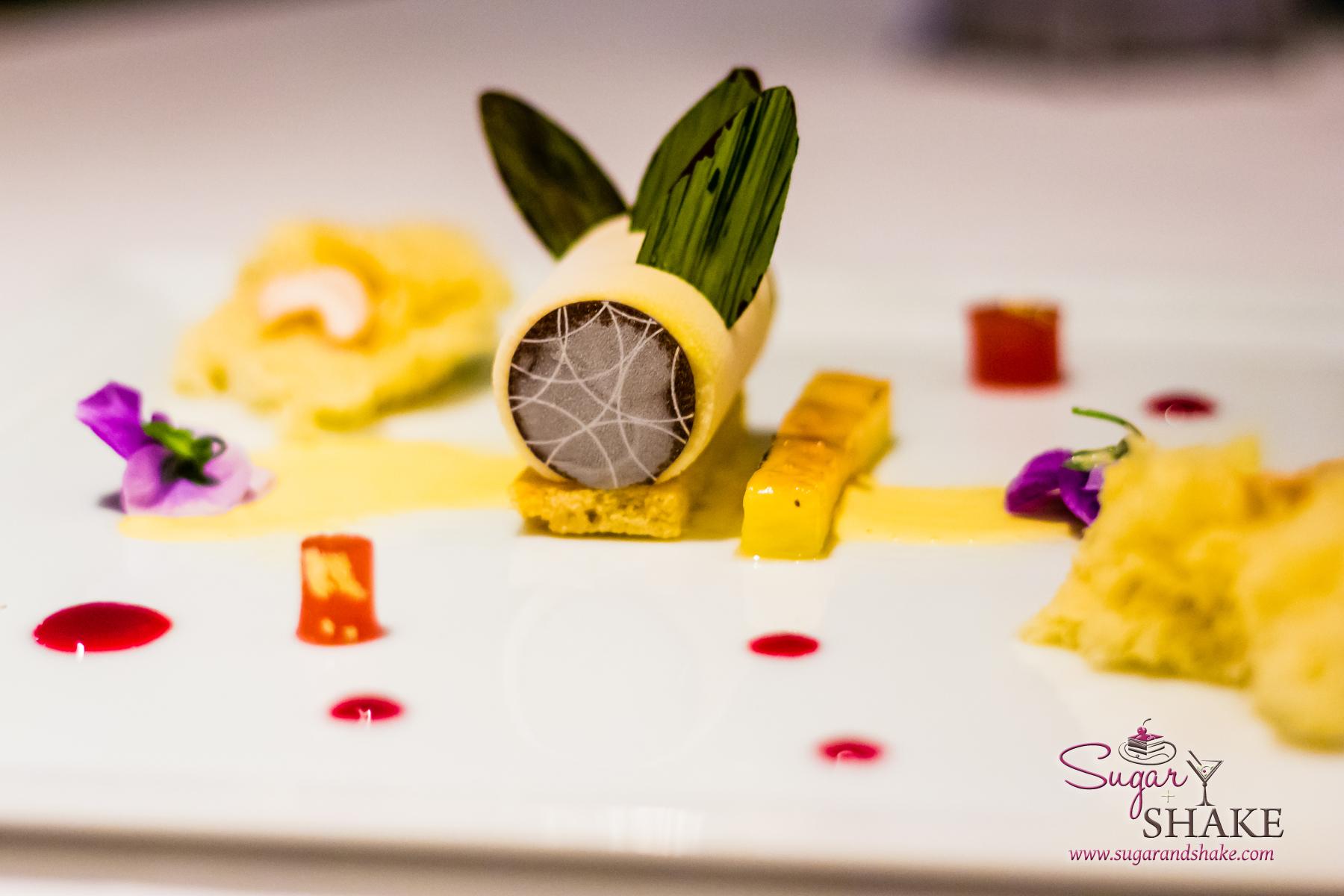 Orchids at the Halekulani. Dessert Course: Kulfi with Cashew Sponge Cake, Guava Gelée, Pomegranate and Pineapple Coulis. © 2013 Sugar + Shake
