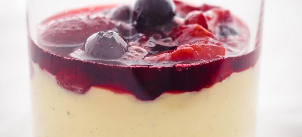 Hawaiian Vanilla Custard with Roasted Maui Strawberries and Blueberries, Maui Lavender and Rum Sauce. © 2013 Sugar + Shake