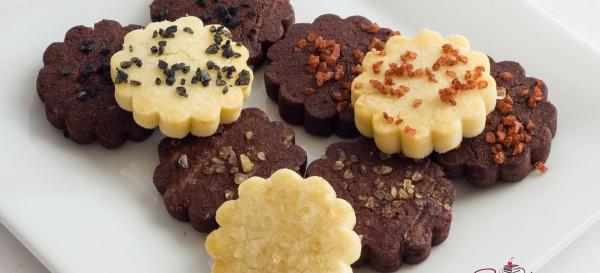 Cocoa and plain shortbread cookies with sea salt. © 2013 Sugar + Shake