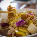 Cake Noodle Pork at Full Moon Café in Hilo — Market vegetables, lean pork, egg noodles, oyster-garlic sauce. © 2014 Sugar + Shake
