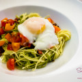 Pancetta, Garlic & Tomato Pasta with Poached Egg. © 2014 Sugar + Shake
