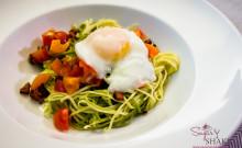Pancetta, Garlic & Tomato Pasta with Poached Egg. © 2014 Sugar + Shake