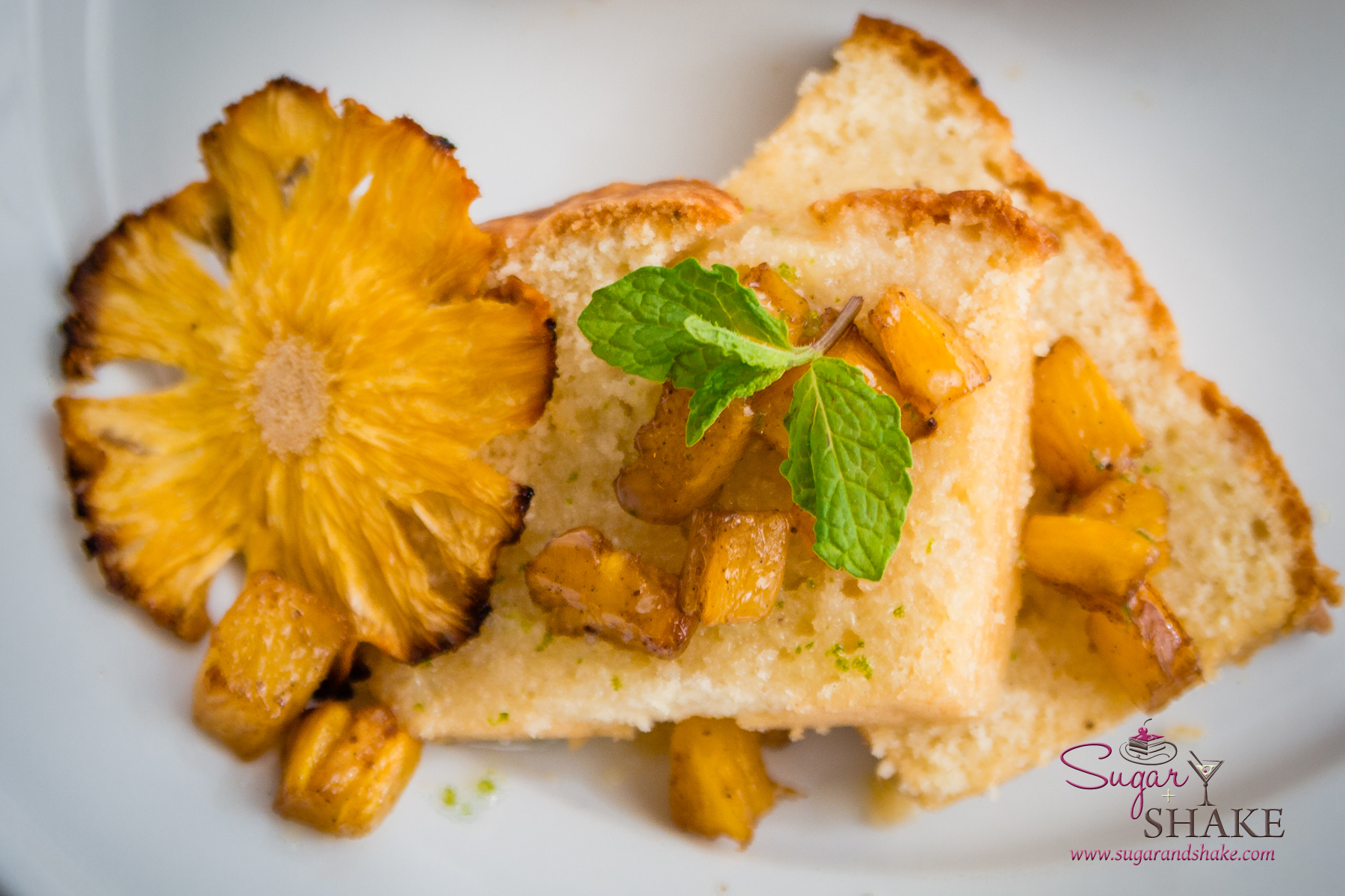 Kaffir Lime Vanilla Pound Cake with Kaffir Lime Glaze and Roasted Rum Pineapple. © 2014 Sugar + Shake