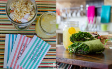 Snackbox treats! LEFT: Salad Jar and Olena Lemonade. RIGHT: Hirabara Farms Kale Wrap and Olena Lemonade. © 2014 Sugar + Shake