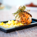 Kā'anapali Fresh 2014. Kā'anapali from Range to Sea Signature Event. Togarashi-Seared Hokkaido Scallop with Smoked Cumin Cream Corn and Kaffir Lime Oil. Silver Award Winner. © 2014 Sugar + Shake