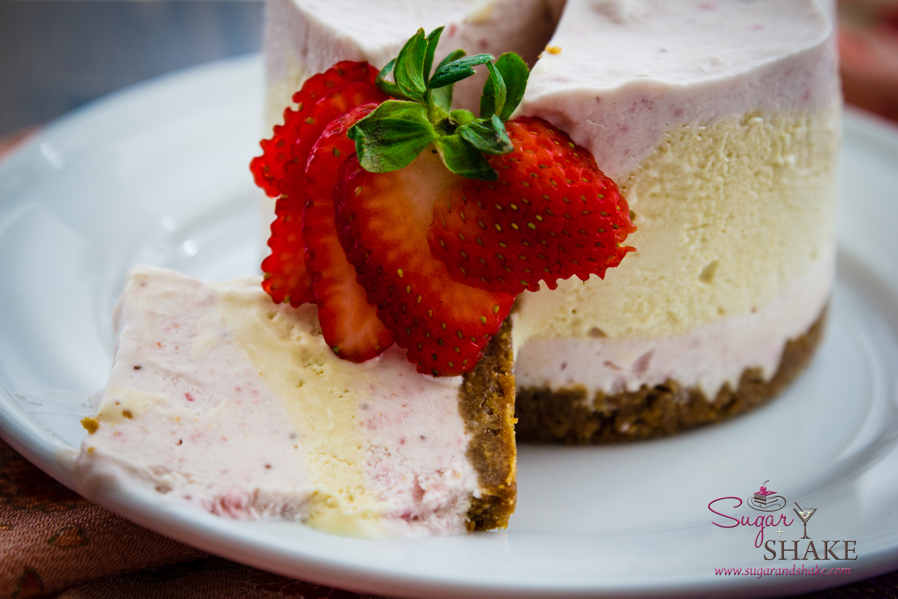 No-baking for a hot weekend: Strawberry & Honey No-Churn Ice Cream Cake. © 2014 Sugar + Shake
