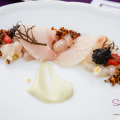 "Hawai'i Food & Wine Festival 2014: ""Under a Maui Moon."" Kampachi with Osetra Caviar, Uni, Preserved Lemon & Toasted Quinoa by Chef Mourad Lahlou (Aziza, San Francisco). Wine pairing: 2013 Weingut Rudolf Furst 'Pur Mineral' Silvaner, Franken, Germany. © 2014 Sugar + Shake"