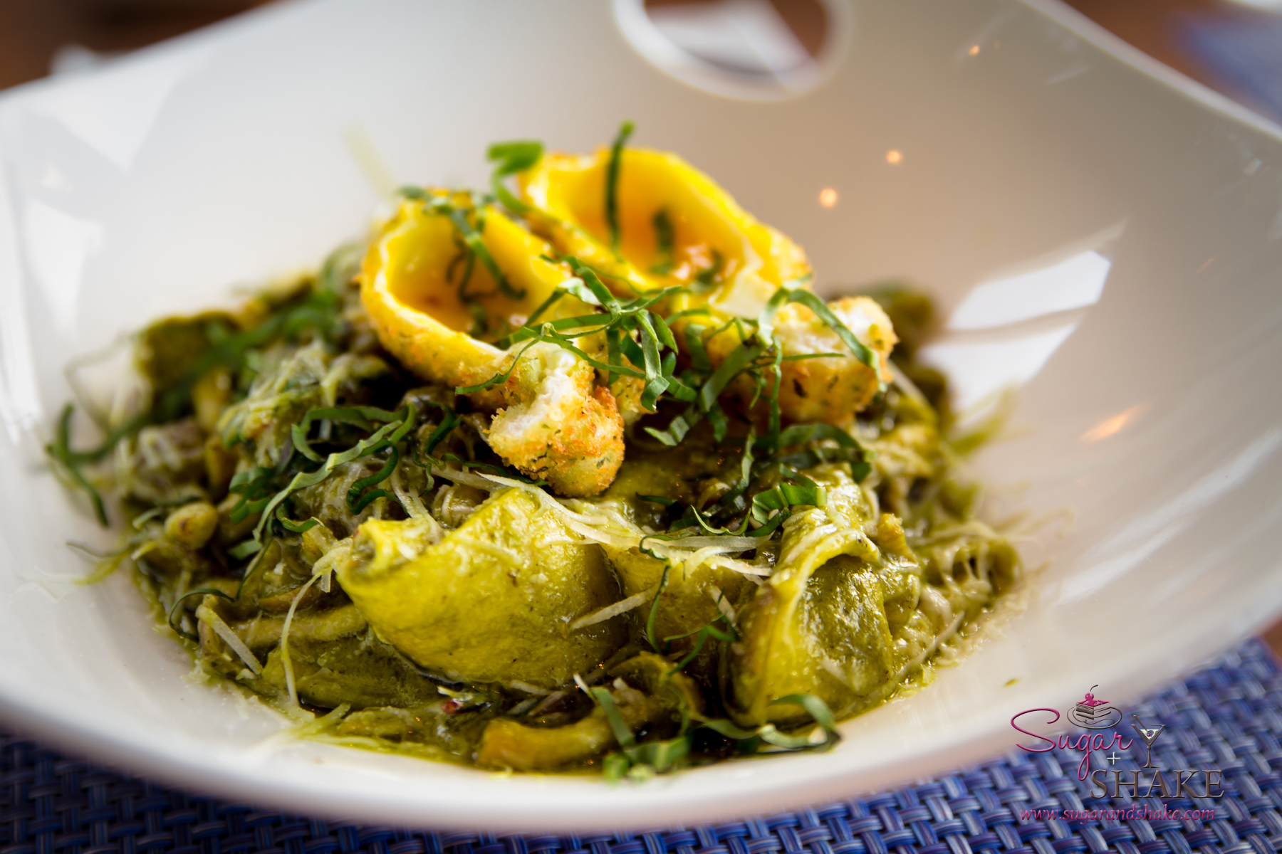 House Pappardelle and Bacon with crispy poached egg, shimeji muschrooms, pesto and pecorino. Celebration of the Arts media dinner at The Banyan Tree at The Ritz-Carlton Kapalua. © 2015 Sugar + Shake