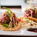 'Ahi Tostadas with avocado and chili pepper aioli. Westin Maui's Relish Oceanside. © 2015 Sugar + Shake