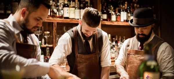 Bar Leather Apron's Justin Park on the left, with his bar crew of Art Deakins (center) and Luke Atay, involved in some serious bar prep. © 2016 Sugar + Shake