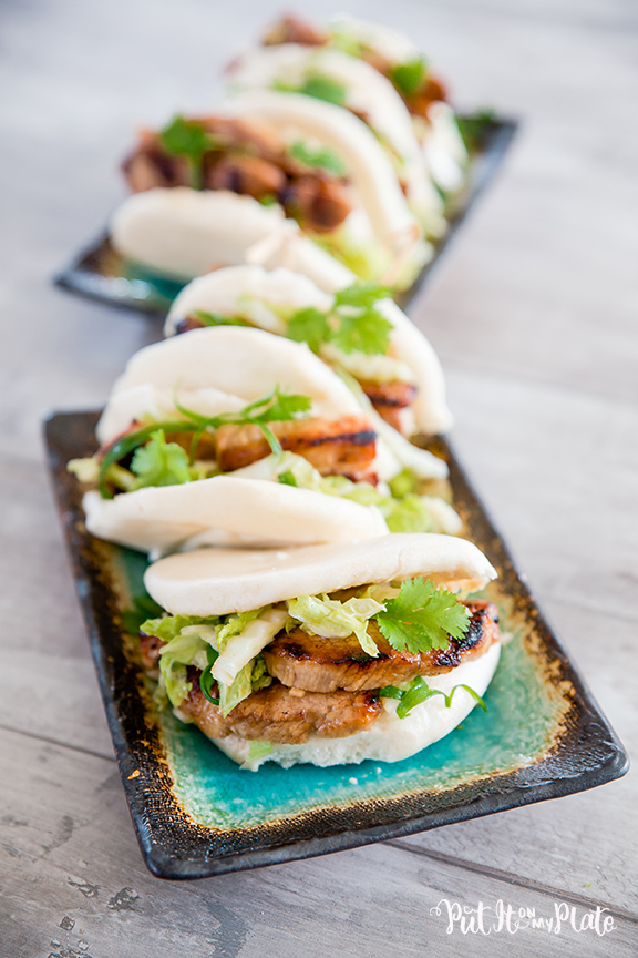 Adobo Pork Belly Bao with Won Bok Slaw © 2020 Put It On My Plate / Sugar + Shake