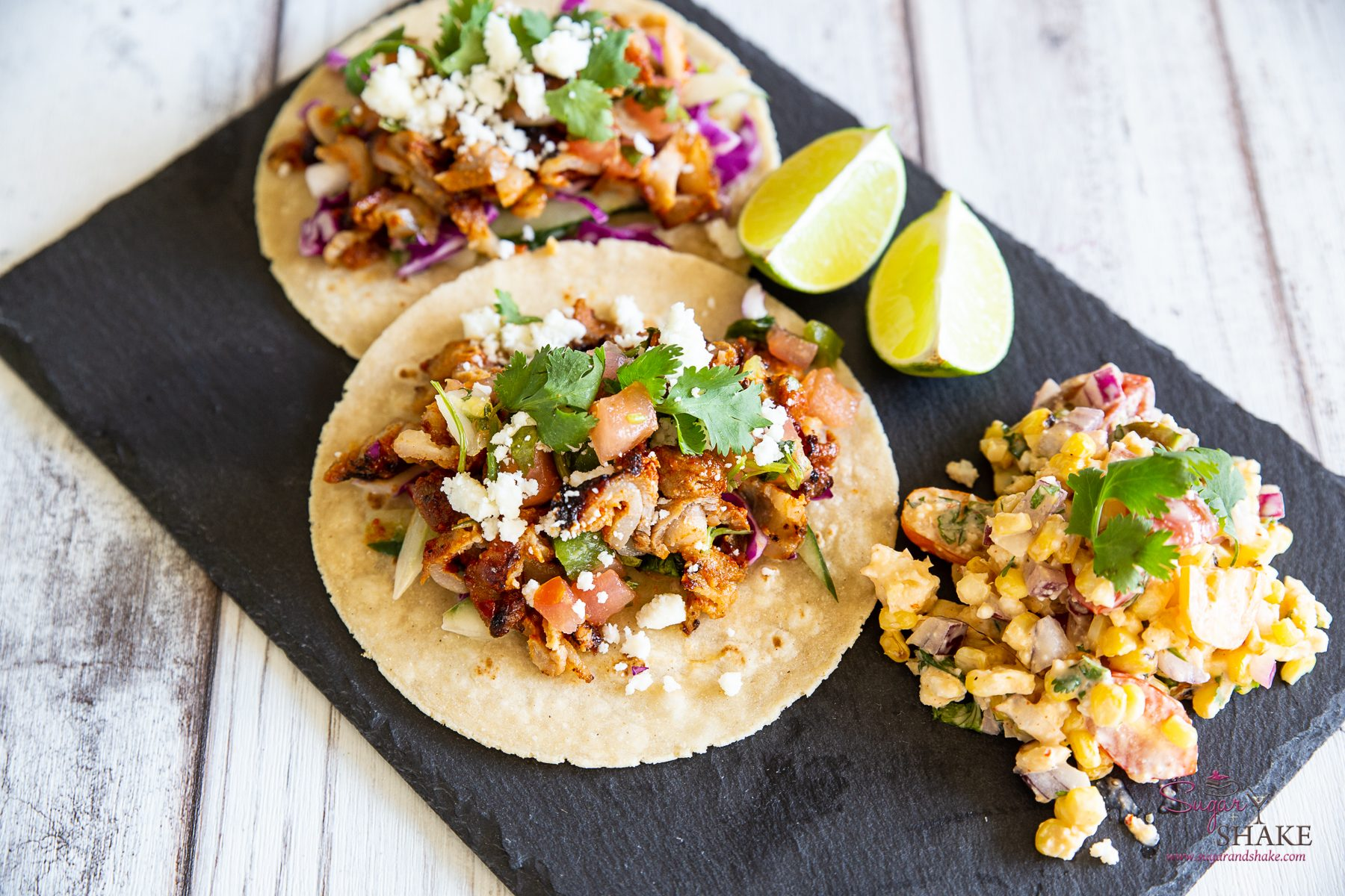 Fusion Street Tacos with Elote-Inspired Salad. Recipe by Foodland Hawaii Corporate Chef Keoni Chang. © 2020 Sugar + Shake